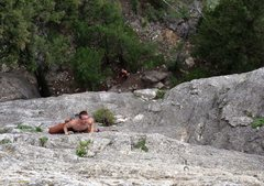 Rock Climbing Photo: My buddy Andrew on route.