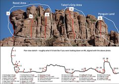 Rock Climbing Photo: Photo of Raptor Ridge with the areas outlined. The...