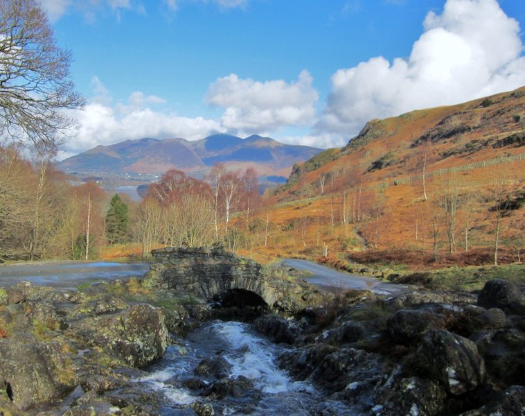 View from Ashness Bridge in Borrowdale  towards  Skiddaw Mt and the town of Keswick