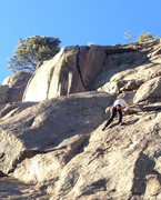Rock Climbing Photo: The top of P1 is the triangular, hanging flake abo...