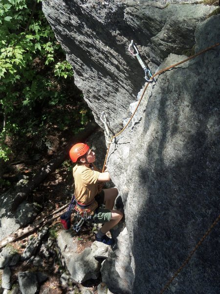 Me cleaning Little Angler my first time climbing<br> <br> Photo by Lee Hansche (I think?)
