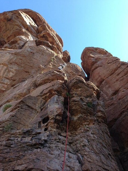 DAS eyeing the first crux.