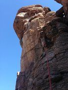 Rock Climbing Photo: DAS eyeing the 2nd crux -- even harder than the fi...