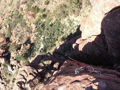 Rock Climbing Photo: View down from above the anchors. DAS is standing ...
