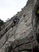 Rock Climbing Photo: P3's start.  The green double rope is hidden.