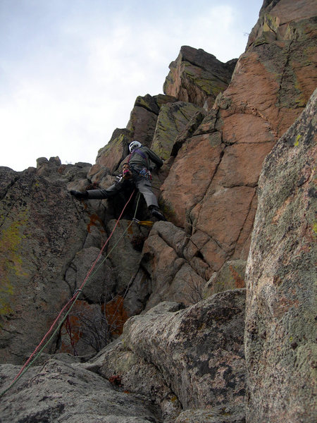 Rock Climbing Photo: George approaches P5's Crimea block.
