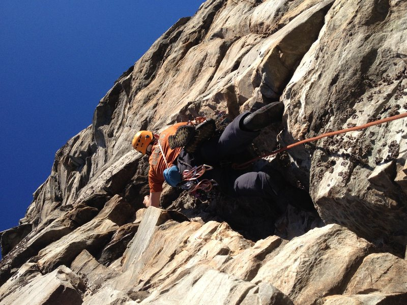 Rock Climbing Photo: Alex heading up p3