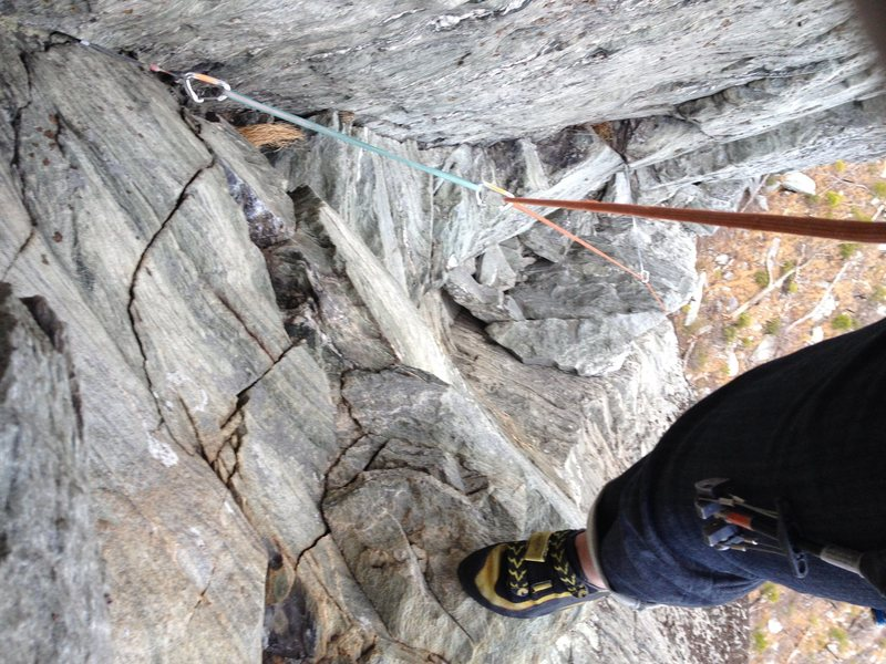 Looking down from under the crux on p2