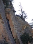 Rock Climbing Photo: closer view of the Window Pitch and top of the lea...