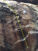 This is the face and other half of Petri-dish, this portion of the climb holds the crux moves. Follow the dotted line using whichever holds you prefer.