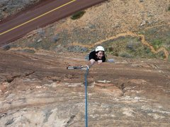 Rock Climbing Photo: Jamie coming up the finish of P2.  6 Mar 2014.