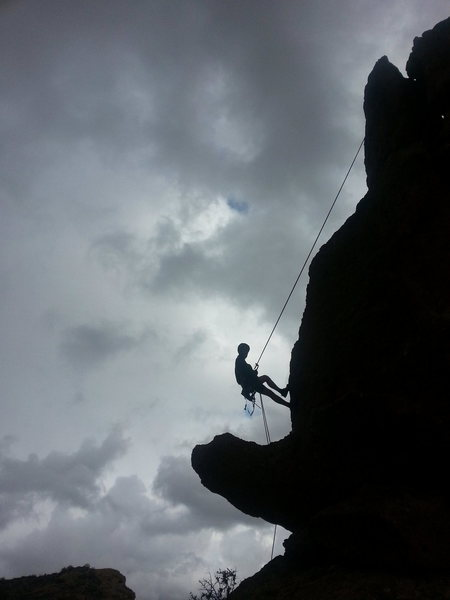 Rock Climbing Photo: Russell rapping off Greevers' after a day of dodgi...