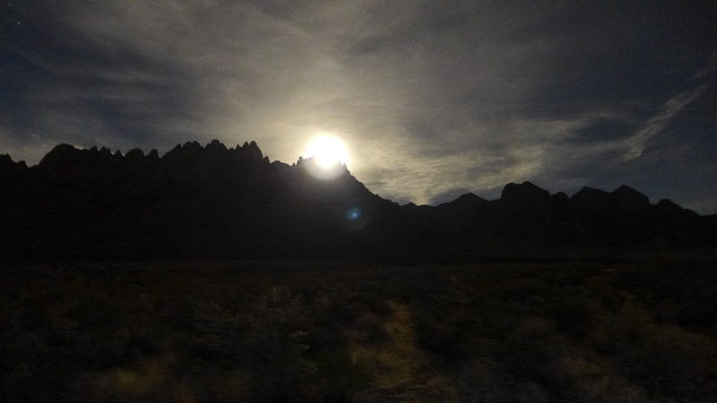 Rock Climbing Photo: almost full moon over the Organ Mts