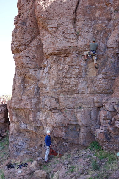 Rock Climbing Photo: AMH getting started through the poorly protected l...