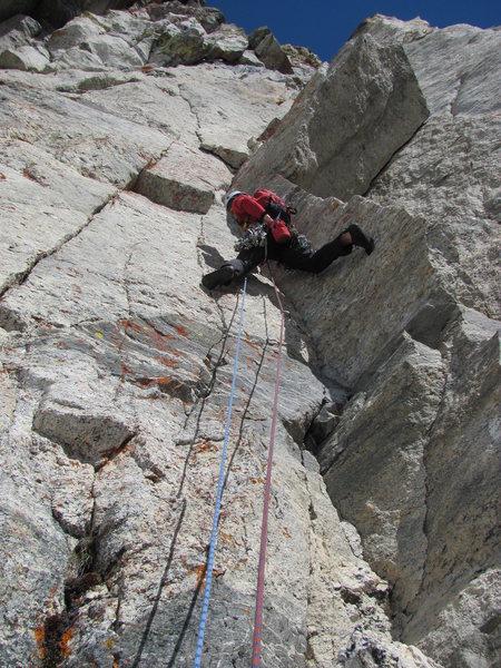 Pitch 1 of Lichen It 5.10d (Mt Gimli)