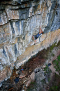 Rock Climbing Photo: The last few hard moves of the headwall.  Photo: K...