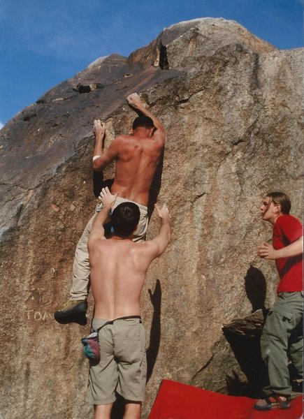 Rock Climbing Photo: YC and Eric Rak spotting me on the FA; photo by Je...