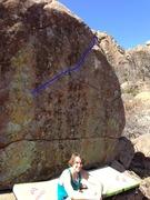 """Rock Climbing Photo: """"Escape Velocity"""" follows the blue line"""