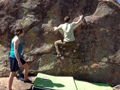 Rock Climbing Photo: Moving from the starting rail to the first right h...