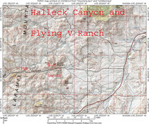 Rock Climbing Photo: Map 1:  Halleck Canyon County Road and Flying V Ra...