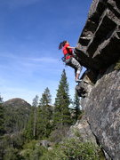 Rock Climbing Photo: Angie Price surmounting the roof. Reachy for short...