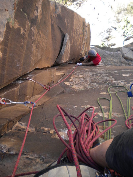 Rock Climbing Photo: BJ seconding P1...