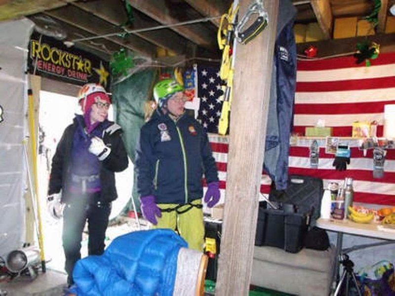 warming hut between climbs