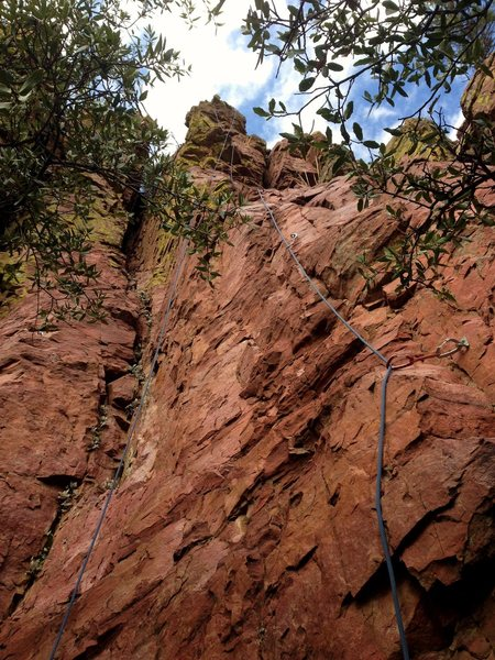 Classic rope & rock photo.  View from the base.