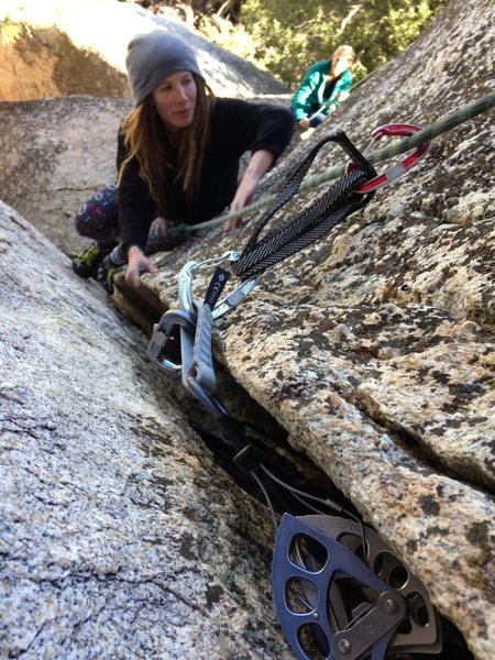 Rock Climbing Photo: Tori cleaning the route.