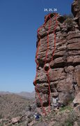 Rock Climbing Photo: #24 is Walk the Line, with the red line going righ...