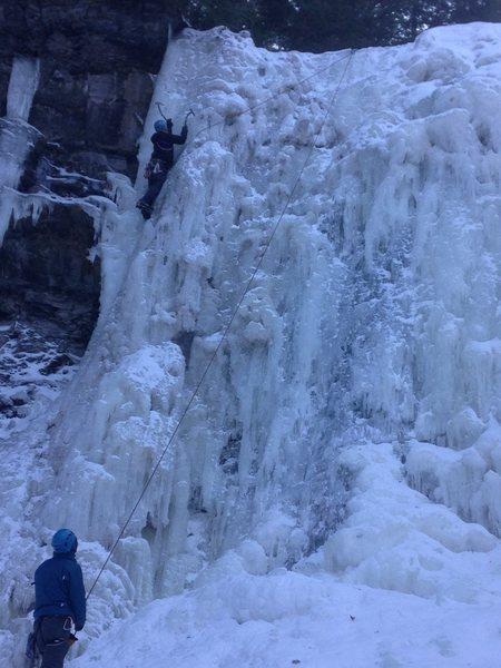 Upper Falls, left side. He'd take a mighty swing if he were to peel.