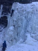 Rock Climbing Photo: Upper Falls, left side. He'd take a mighty swing i...