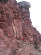 Rock Climbing Photo: Scarpelli belaying Brent on Visiting Red Lodge.