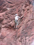 Rock Climbing Photo: Salvo Canon pulls on rope to finish move due to ch...