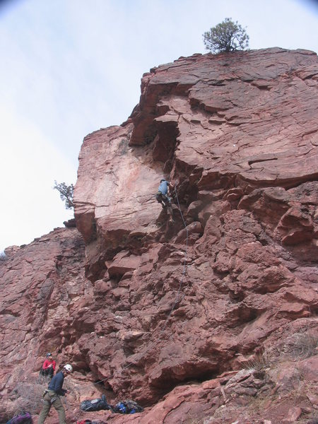 Zach K belaying Salvo Canon on the Gutterman's Staircase.