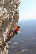 Rock Climbing Photo: Joy Cox looking calm, cool and collected on Deceiv...