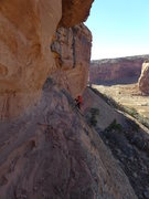 Rock Climbing Photo: crossing the slabs to reach the hand crack