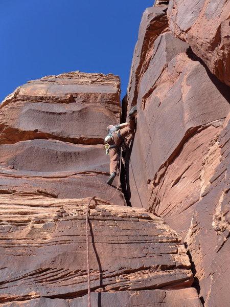 Erick sport climbing the offwidth pitch