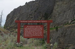 Rock Climbing Photo: Roadside sign about Canyon's history (with the Eas...