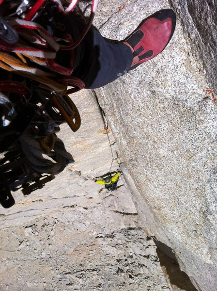 Rock Climbing Photo: Don't drop your partners yellow mastercam.  Or do....