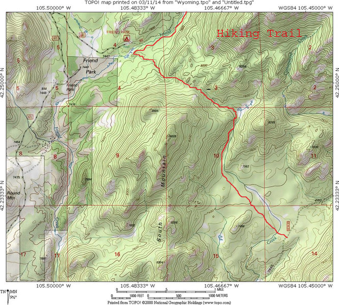 Map showing hiking trail that passes over the saddle between Laramie Peak and South Mountain.