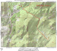 Rock Climbing Photo: Map showing hiking trail that passes over the sadd...