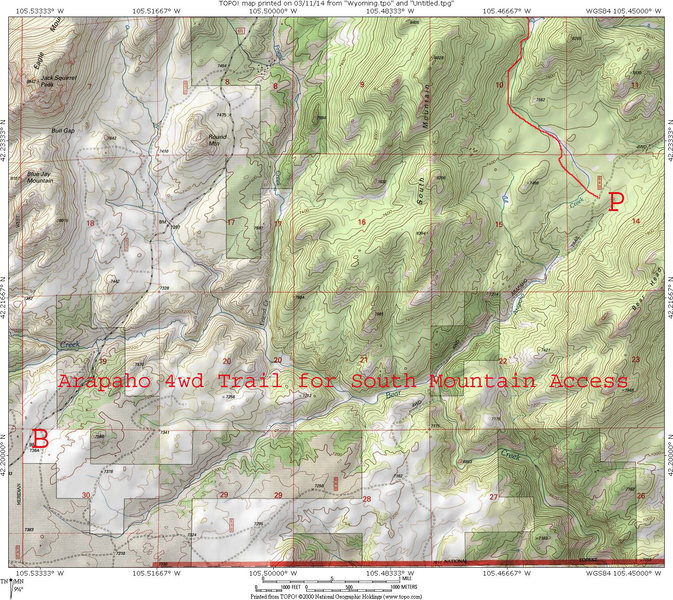 Map showing Arapaho 4wd Trail for east access to South Mountain.  The east most portion is not accessible from Cottonwood Park Rd. without permission/gate key from the Kloer Creek Ranch site of the True Ranch.