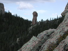 Rock Climbing Photo: A short pinnacle visible from Bear Creek Rd. which...