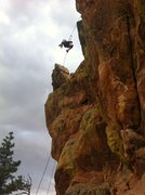 Rock Climbing Photo: Rapping off the back with a storm coming in.