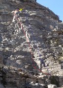 Rock Climbing Photo: Gully Wall - Middle face topo