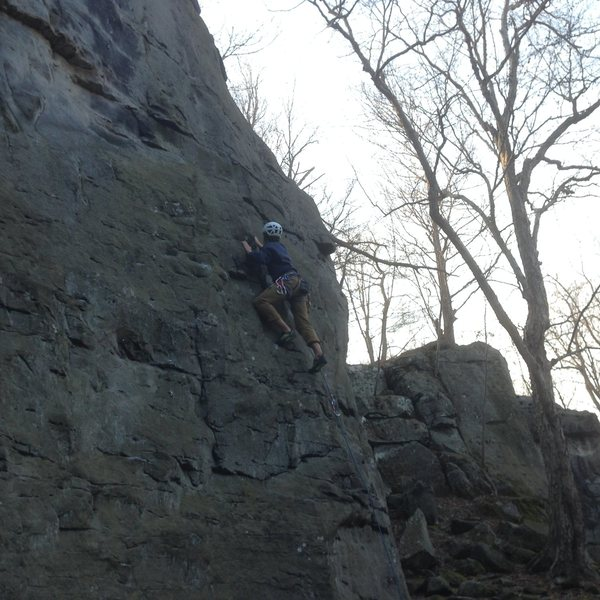 Rock Climbing Photo: Leading on GYB at Breakneck Rocks.