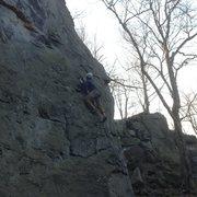 Rock Climbing Photo: Leading on GYB at Breakneck Rocks.