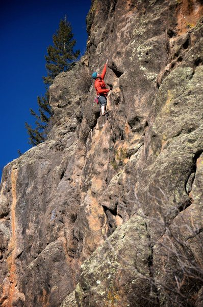Rock Climbing Photo: Well above the short, crumbly start and into the g...