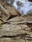 Rock Climbing Photo: Pulling the roof on this fun route! After a snow s...